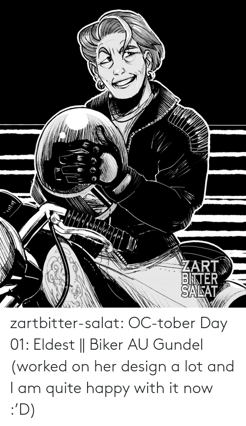 combine: zartbitter-salat:  OC-tober Day 01: Eldest || Biker AU Gundel (worked on her design a lot and I am quite happy with it now :'D)