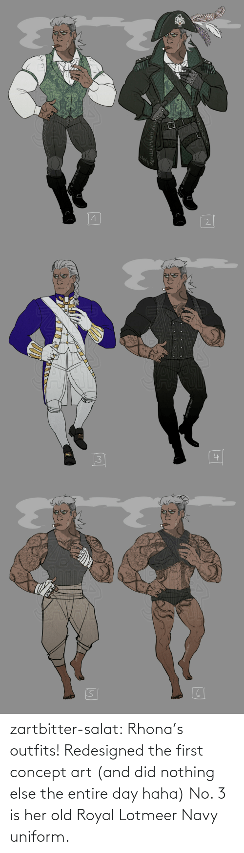Royal: zartbitter-salat:  Rhona's outfits! Redesigned the first concept art (and did nothing else  the entire day haha) No. 3 is her old Royal Lotmeer Navy uniform.