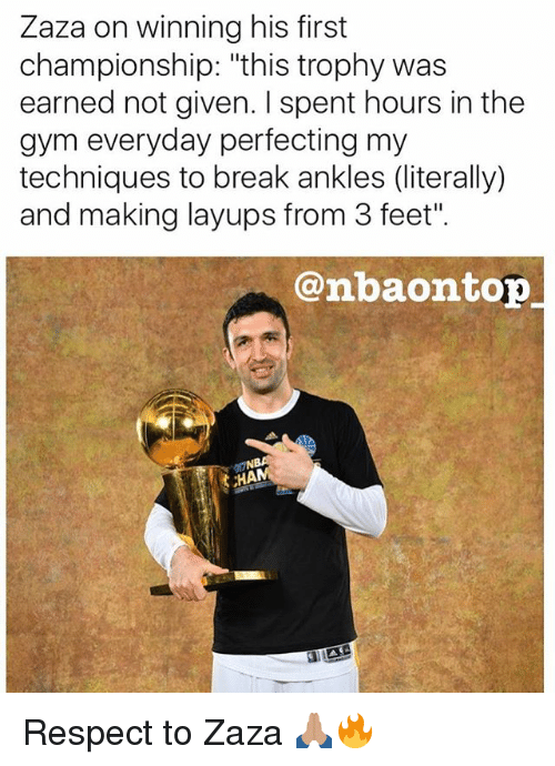 "Gym, Memes, and Respect: Zaza on winning his first  championship: ""this trophy was  earned not given. spent hours in the  gym everyday perfecting my  techniques to break ankles (literally)  and making layups from 3 feet"".  @mbaom top  ,HAM Respect to Zaza 🙏🏽🔥"