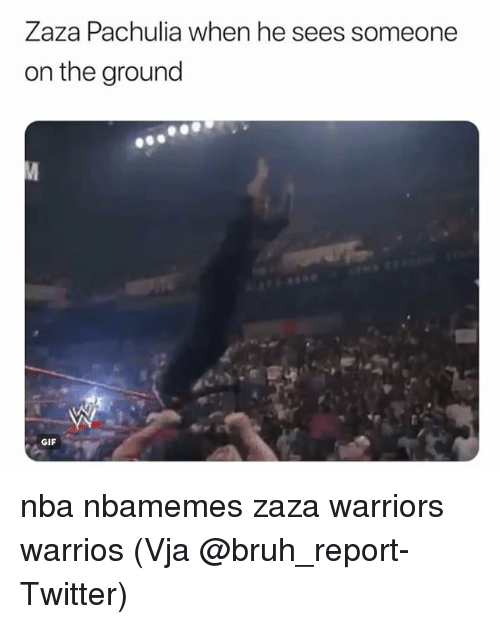 Basketball, Bruh, and Gif: Zaza Pachulia when he sees someone  on the ground  GIF nba nbamemes zaza warriors warrios (Vja @bruh_report-Twitter)