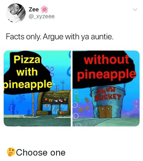 Arguing, Facts, and Memes: Zee  @_xyzeee  Facts only. Argue with ya auntie.  Pizza  with  pineappl  without  pineapple  KET 🤔Choose one