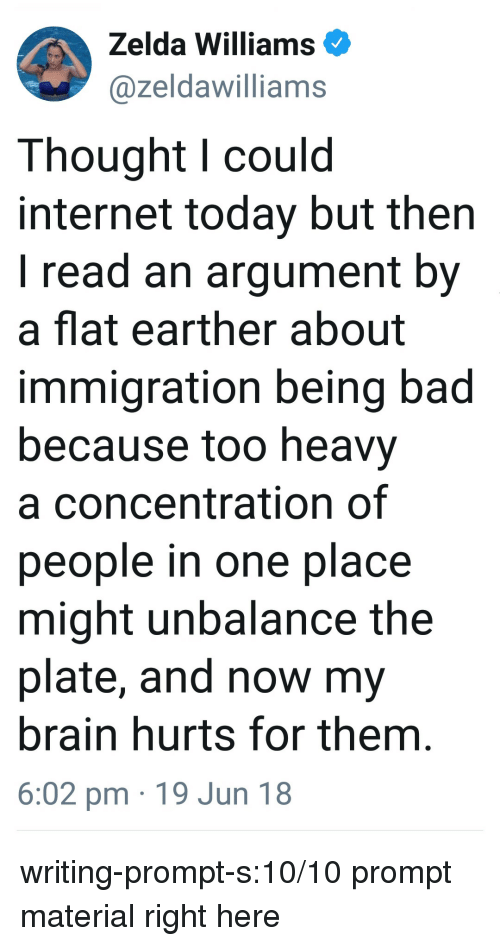 Flat Earther: Zelda Williams  @zeldawilliams  Thought l could  internet today but then  I read an argument by  a flat earther about  immigration being bad  because too heavy  a concentration of  people in one place  might unbalance the  plate, and now my  brain hurts for them  6:02 pm 19 Jun 18 writing-prompt-s:10/10 prompt material right here