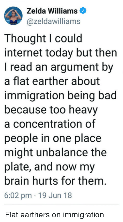 Flat Earther: Zelda Williams  @zeldawilliams  Thought l could  internet today but then  I read an argument by  a flat earther about  immigration being bad  because too heavy  a concentration of  people in one place  might unbalance the  plate, and now my  brain hurts for them.  6:02 pm 19 Jun 18 Flat earthers on immigration