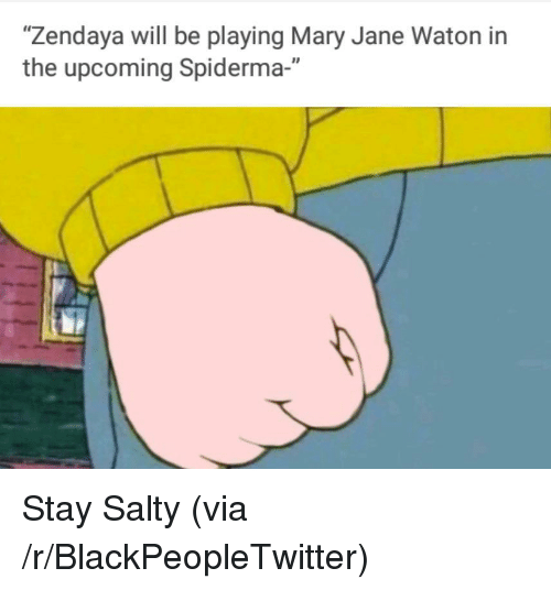 """Mary Jane: """"Zendaya will be playing Mary Jane Waton in  the upcoming Spiderma-"""" <p>Stay Salty (via /r/BlackPeopleTwitter)</p>"""