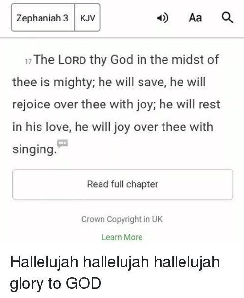 Zephaniah 3 KJV 17The LORD Thy God in the Midst of Thee Is ...