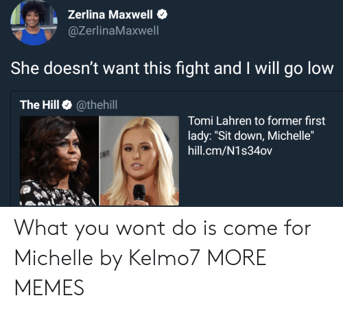 """Tomi: Zerlina Maxwell  @ZerlinaMaxwell  She doesn't want this fight and I will go low  The Hill @thehill  Tomi Lahren to former first  lady: """"Sit down, Michelle""""  hill.cm/N1s34ov What you wont do is come for Michelle by Kelmo7 MORE MEMES"""