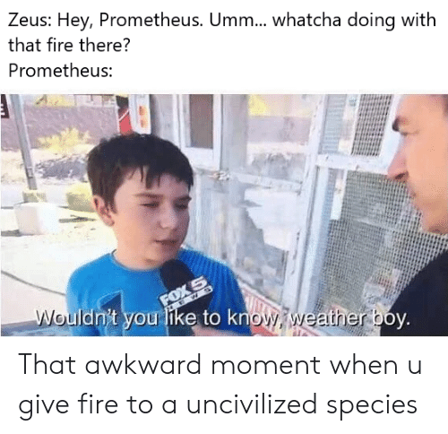 Awkward Moment: Zeus: Hey, Prometheus. Umm.... whatcha doing with  that fire there?  Prometheus:  FOX S  Wouldn't you like to know weatherboy. That awkward moment when u give fire to a uncivilized species