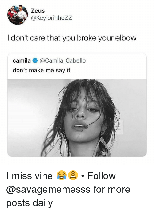 Memes, Vine, and Say It: Zeus  @Keylorinhozz  Idon't care that you broke your elbow  camila @Camila.Cabello  don't make me say it I miss vine 😂😩 • Follow @savagememesss for more posts daily