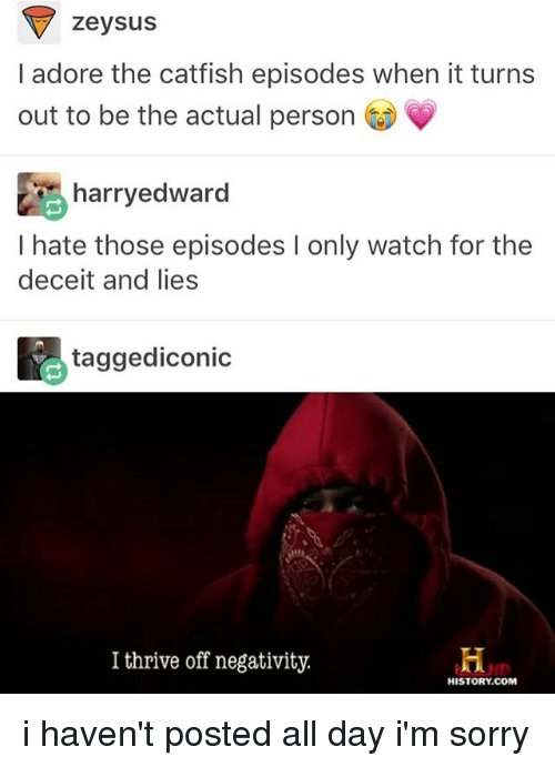 deceit: zeysus  I adore the catfish episodes when it turns  out to be the actual person  harryedward  I hate those episodes l only watch for the  deceit and lies  tagged iconic  I thrive off negativity.  HISTORY COM i haven't posted all day i'm sorry