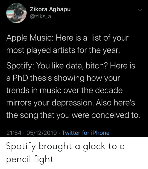 Artists: Zikora Agbapu  @ziks_a  Apple Music: Here is a list of your  most played artists for the year.  Spotify: You like data, bitch? Here is  a PhD thesis showing how your  trends in music over the decade  mirrors your depression. Also here's  the song that you were conceived to.  21:54 · 05/12/2019 · Twitter for iPhone Spotify brought a glock to a pencil fight