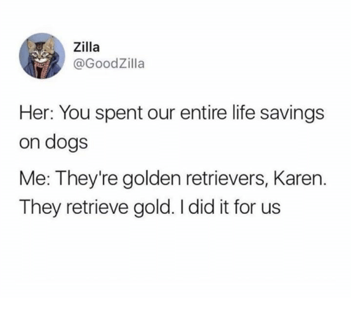 Dank, Dogs, and Life: .. Zilla  @GoodZilla  Her: You spent our entire life savings  on dogs  Me: They're golden retrievers, Karen.  They retrieve gold. I did it for us