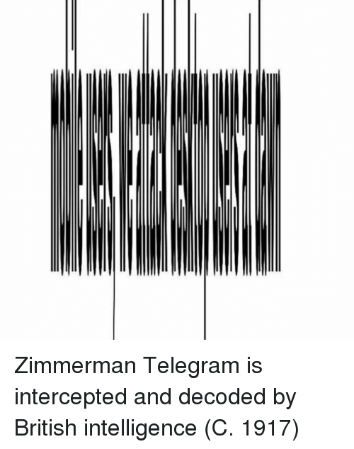 Intercepted: Zimmerman Telegram is intercepted and decoded by British intelligence (C. 1917)