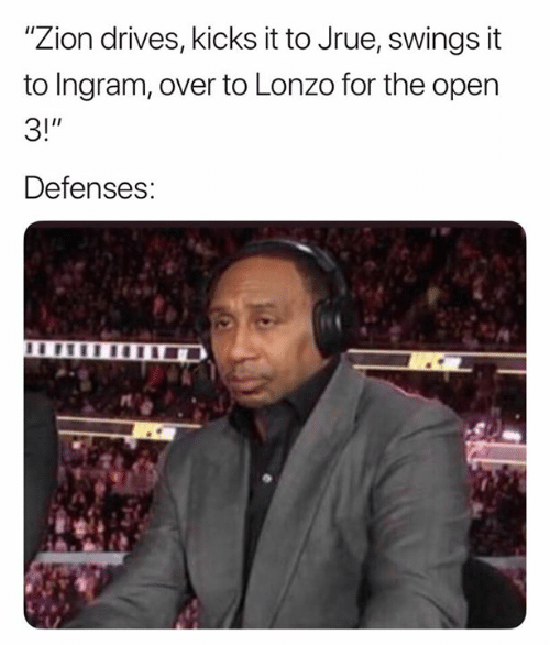 """ingram: """"Zion drives, kicks it to Jrue, swings it  to Ingram, over to Lonzo for the open  3!""""  Defenses:"""