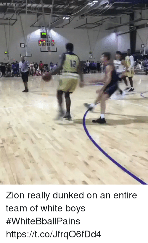 Basketball, White People, and White: Zion really dunked on an entire team of white boys #WhiteBballPains https://t.co/JfrqO6fDd4