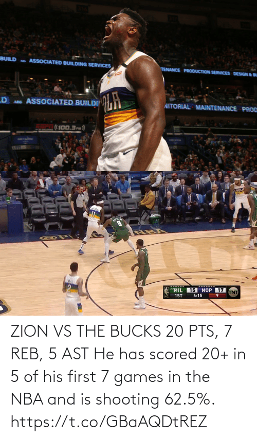 He Has: ZION VS THE BUCKS 20 PTS, 7 REB, 5 AST  He has scored 20+ in 5 of his first 7 games in the NBA and is shooting 62.5%.  https://t.co/GBaAQDtREZ