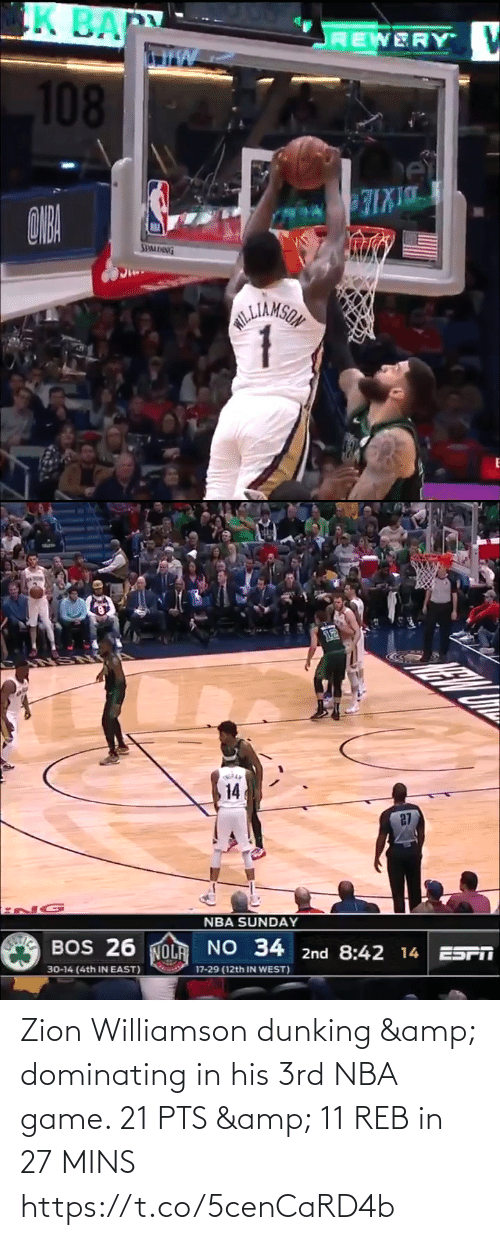 Williamson: Zion Williamson dunking & dominating in his 3rd NBA game.   21 PTS & 11 REB in 27 MINS https://t.co/5cenCaRD4b