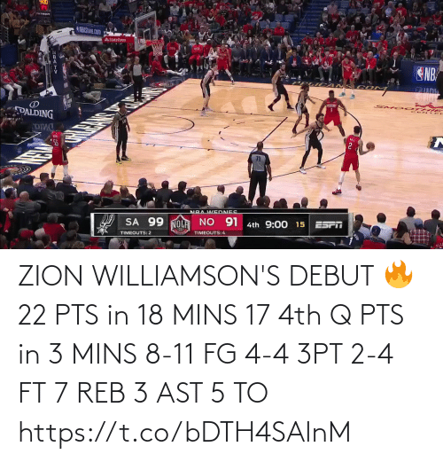 ast: ZION WILLIAMSON'S DEBUT 🔥  22 PTS in 18 MINS 17 4th Q PTS in 3 MINS 8-11 FG 4-4 3PT 2-4 FT 7 REB 3 AST  5 TO  https://t.co/bDTH4SAlnM