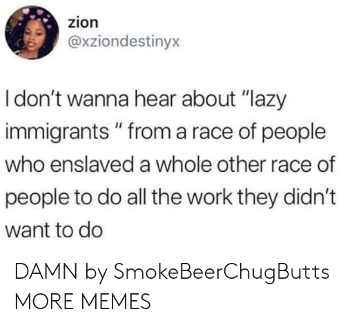 "Immigrants: zion  @xziondestinyx  Idon't wanna hear about ""lazy  immigrants"" from a race of people  who enslaved a whole other race of  people to do all the work they didn't  want to do DAMN by SmokeBeerChugButts MORE MEMES"