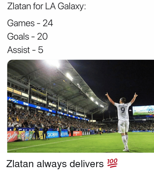 zlatan: Zlatan for LA Galaxy:  Games 24  Goals - 20  Assist 5  OFF Zlatan always delivers 💯