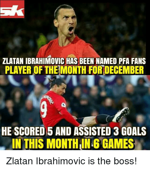 Memes, Zlatan Ibrahimovic, and 🤖: ZLATAN IBRAHIMOVIC HAS BEEN NAMED PFA FANS  PLAYER OF THE MONTH FORDECEMBER  HE SCORED 5 AND ASSISTED 3 GOALS  IN THIS MONTH ING GAMES Zlatan Ibrahimovic is the boss!