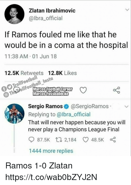 Memes, Champions League, and Hospital: Zlatan lbrahimovic  @lbra_official  If Ramos fouled me like that he  would be in a coma at the hospital  11:38 AM 01 Jun 18  olootbaliles7  Th PollFootball InstaoLike  12.5K Retweets 12.8K Likes  Sergio Ramos@SergioRamos  Replying to @lbra_official  That will never happen because you will  never play a Champions League Final  87.5K  2,184  48.5K  1444 more replies Ramos 1-0 Zlatan https://t.co/wab0bZYJ2N