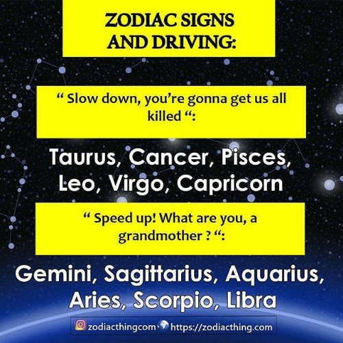 "Zodiac: ZODIAC SIGNS  AND DRIVING:  ""Slow down, you're gonna get us all  killed "":  Taurus, Cancer, Pisces,  Leo, Virgo, Capricorn  ""Speed up! What are you, a  grandmother ? ""  Gemini, Sagittarius, Aquarius,  Aries, Scorpio, Libra  zodiacthingcom https://zodiacthing.com"