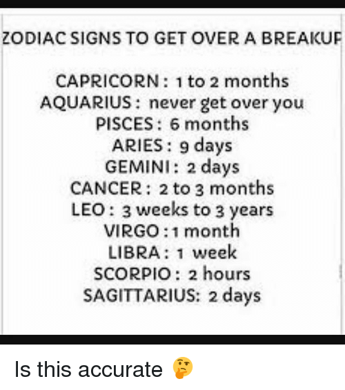 zodiac signs to get over a breakuf capricorn 1 to 2 months