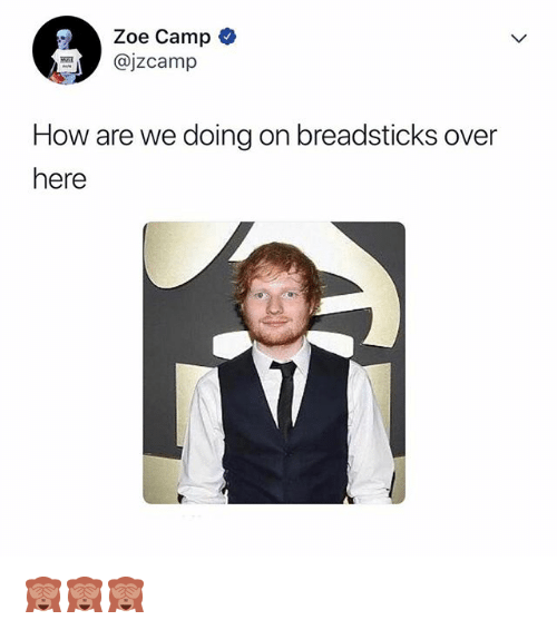 Relatable, How, and Camp: Zoe Camp  @jzcamp  How are we doing on breadsticks over  here 🙈🙈🙈