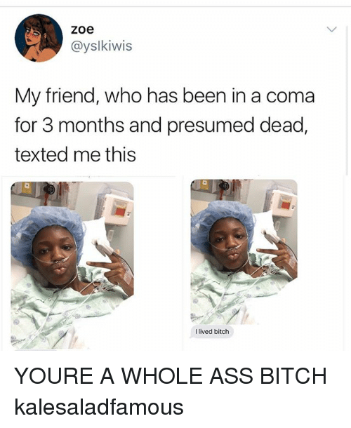 Ass, Bitch, and Memes: zoe  @yslkiwis  My friend, who has been in a coma  for 3 months and presumed dead,  texted me this  l lived bitch YOURE A WHOLE ASS BITCH kalesaladfamous