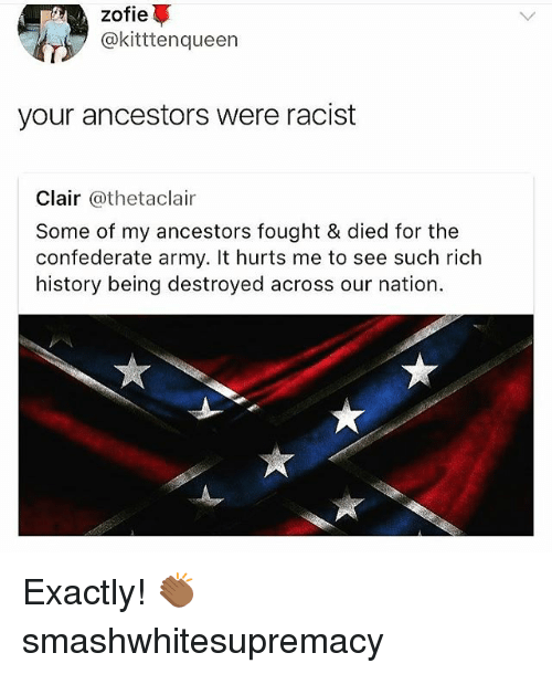 Memes, Army, and History: zofie  @kitttenqueen  your ancestors were racist  Clair @thetaclair  Some of my ancestors fought & died for the  confederate army. It hurts me to see such rich  history being destroyed across our nation. Exactly! 👏🏾 smashwhitesupremacy