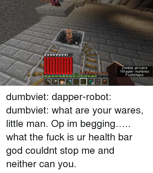 mumbles: Zombie groans  Villager mumbles  Footsteps dumbviet:  dapper-robot:  dumbviet: what are your wares, little man.  Op im begging….. what the fuck is ur health bar   god couldnt stop me and neither can you.