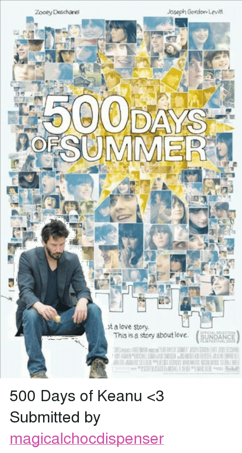 """Zooey Deschanel: Zooey Deschanel  500 DAYS  OESUMMER  t a love story.  This is a story about love SUNDA <p>500 Days of Keanu &lt;3</p> <p>Submitted by <a href=""""http://magicalchocdispenser.tumblr.com/"""">magicalchocdispenser</a></p>"""