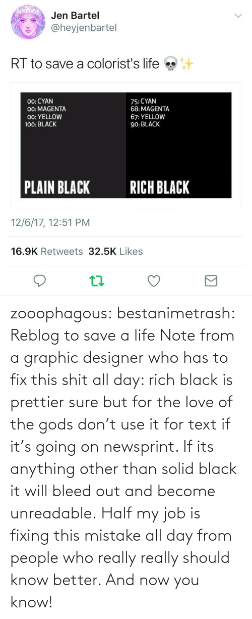 This Shit: zooophagous:  bestanimetrash: Reblog to save a life  Note from a graphic designer who has to fix this shit all day: rich black is prettier sure but for the love of the gods don't use it for text if it's going on newsprint. If its anything other than solid black it will bleed out and become unreadable. Half my job is fixing this mistake all day from people who really really should know better. And now you know!