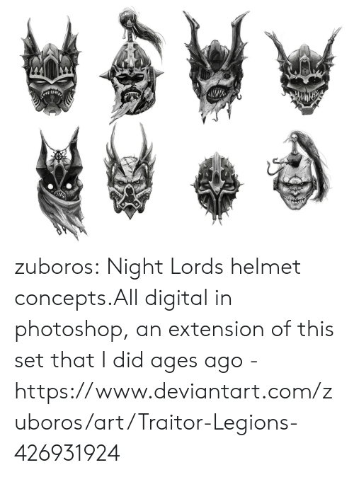 photoshop: zuboros:  Night Lords helmet concepts.All digital in photoshop, an extension of this set that I did ages ago - https://www.deviantart.com/zuboros/art/Traitor-Legions-426931924