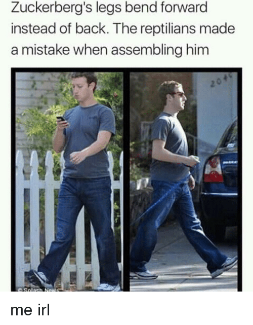 Irl, Me IRL, and Back: Zuckerberg's legs bend forward  instead of back. The reptilians made  a mistake when assembling him