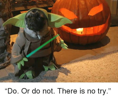 "there is no try: ""Do. Or do not. There is no try."""
